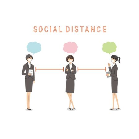Three Working Women with a Social Distance and Conversion - Vector(fill) Иллюстрация