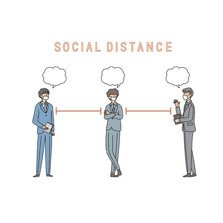 Three businessmen with a social distance and conversion - vector(stroke &fill) Иллюстрация