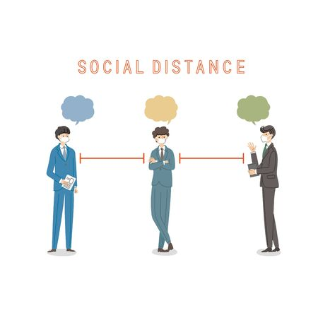 Three businessmen with a social distance and conversion - vector(fill)