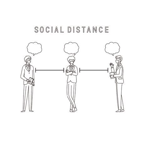Three businessmen with a social distance and conversion - vector(stroke)