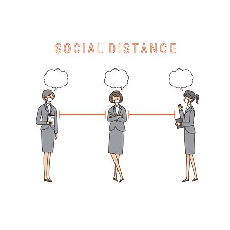 Three Working Women with a Social Distance and Conversion - vector(stroke &fill)
