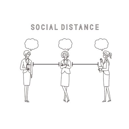 Three Working Women with a Social Distance and Conversion - vector(stroke) Иллюстрация