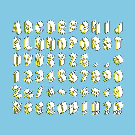 Set of alphabets, numbers and symbols - isometric vector Иллюстрация