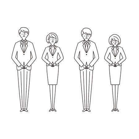 Business scene: men and women bowing 2 (Stroke) 일러스트