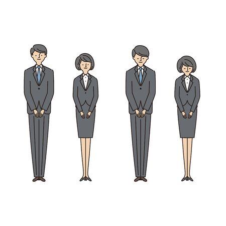 Business Scene: Men and Women Bowing1 (Stroke & Fill)