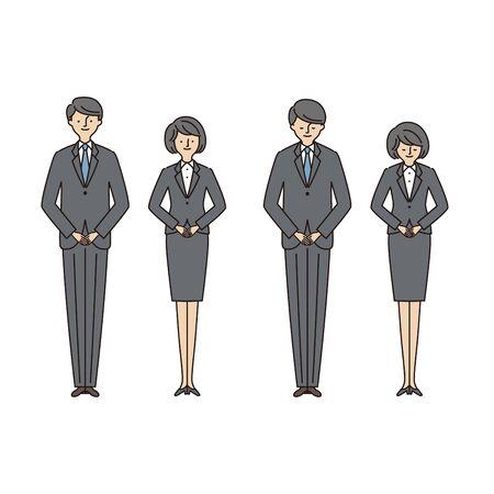 Business Scene: Men and Women Bowing2 (Stroke & Fill) Иллюстрация