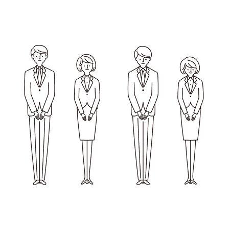 Business scene: men and women bowing 1 (Stroke) Иллюстрация
