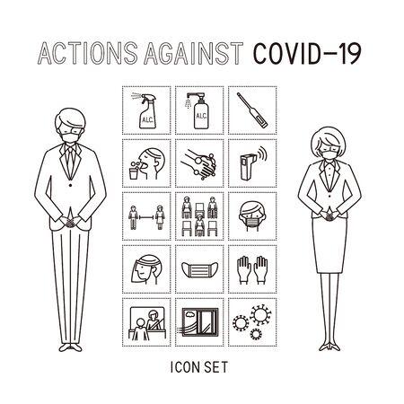 actions again coast cost cococ-19 - icon set (vector,stroke)