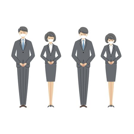 Business Scene: Men and Women Bowing with masks 2 (fill)