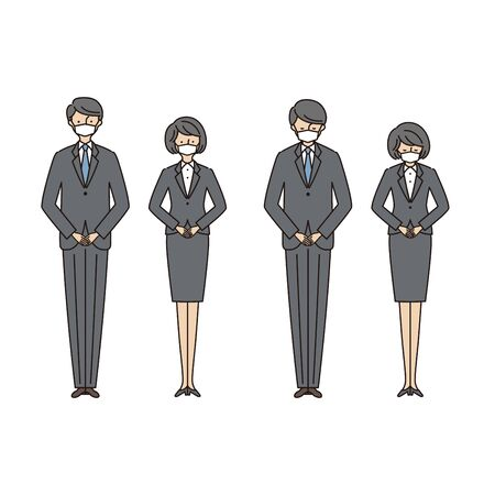 Business scene: men and women bowing with masks 2 (stroke &fill)
