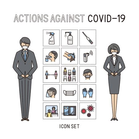 actions again coast cost covic-19 - icon set (vector,stroke&fill) Иллюстрация