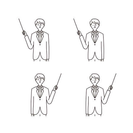 Business: Pointing at something, pointing stick, man (stroke)