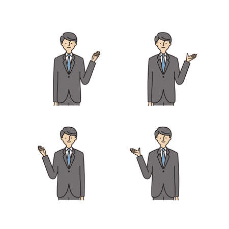 Business: Pointing At Something · Hand Gestures · man (stroke &fill) Иллюстрация