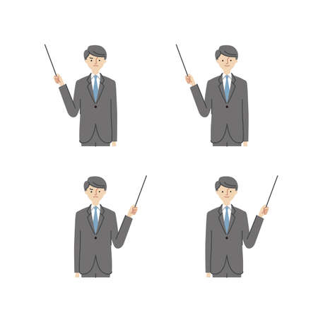 Business: Pointing at something, pointing stick, man (fill)