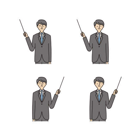 Business: Pointing at Something, Pointing stick, man (stroke&fill)