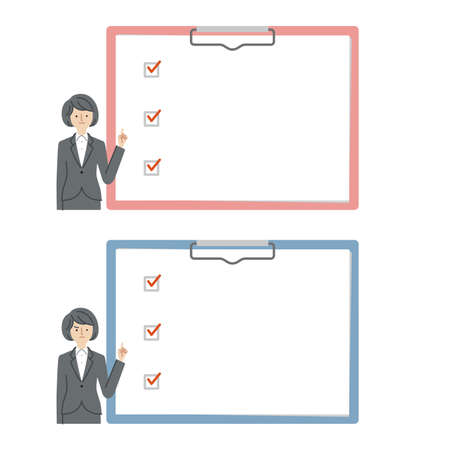 Business: woman explaining using a check box(fill)