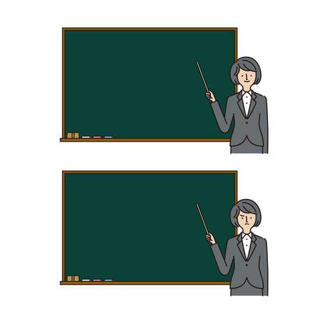 Business: Pointing at Something, Pointing stick, blackboard, women (stroke &fill) Иллюстрация