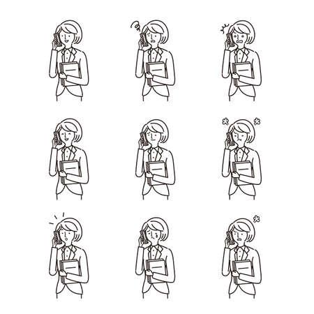 Business: Women, smartphones, facial expressions, variation set(stroke)