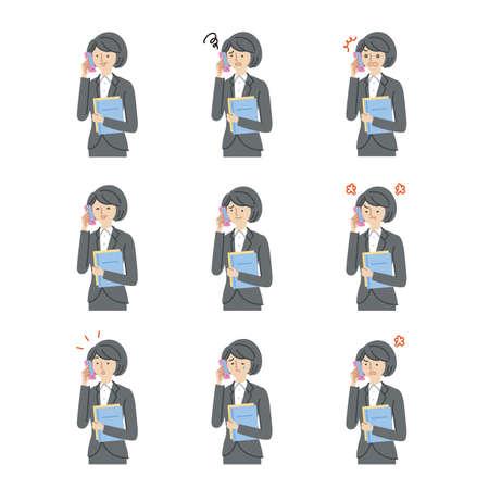 Business: Women, smartphones, facial expressions, variation set(stroke) 矢量图片