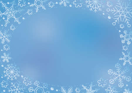 frame:Glossy snowflake blue background and oval frame(vector)