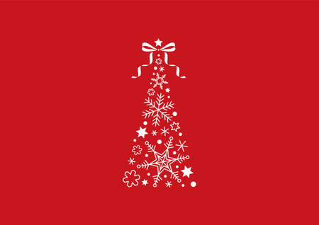 Seasonal material: Christmas tree made of snowflakes and red background
