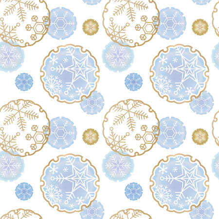 Seasonal material: Snowflake and background of traditional Japanese snow patterns (seamless pattern)