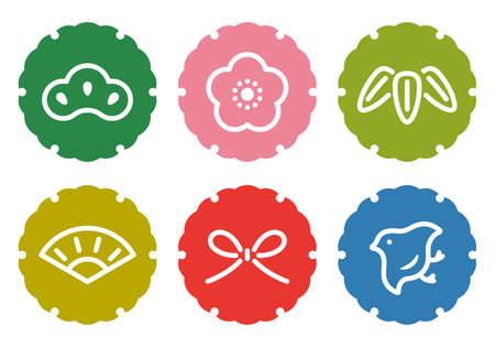 Seasonal material: Snow ring pattern and 6 kinds of lucky charm icon set 矢量图像