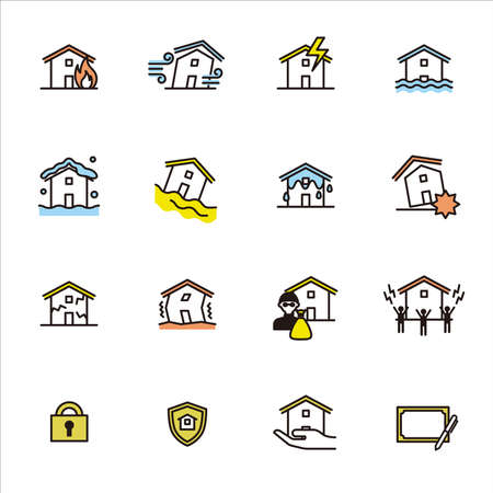 Simple icon set: Housing insurance (fire insurance, earthquake insurance) 矢量图像