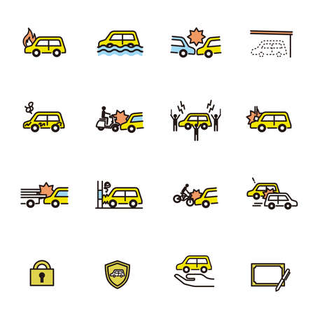 Simple Icon Set: Car Insurance 矢量图像