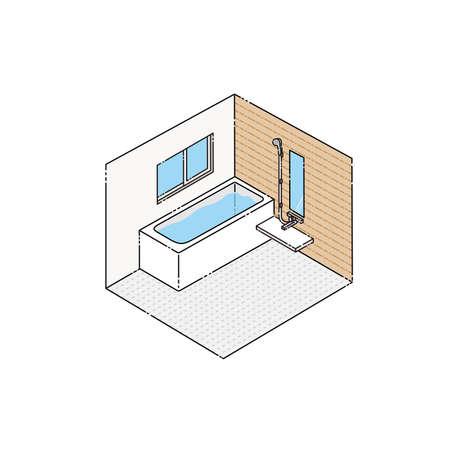 Bath: System bath (isometric) Иллюстрация