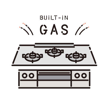 Dwelling equipment: Built-in gas stove 矢量图像