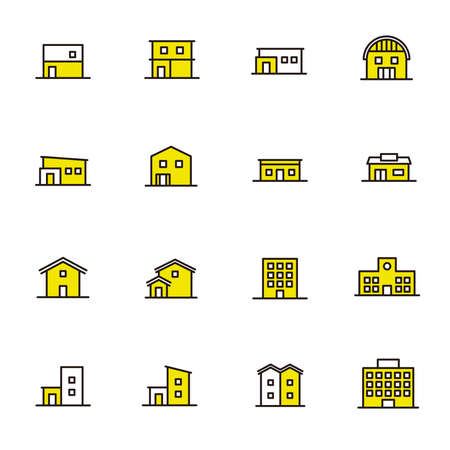 Simple icon set: icons of various buildings 矢量图像