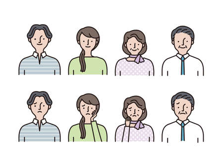 Simple icon set: Young men and women, middle-aged men and women set A 矢量图像