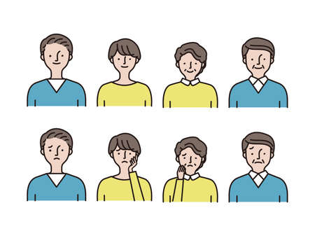 Simple icon set: Young men and women, middle-aged men and women set B