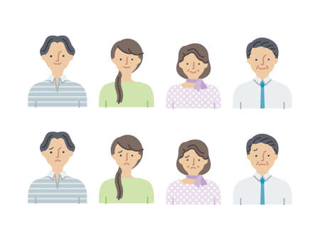 Simple icon set: Young men and women, middle-aged men and women set A(fill)