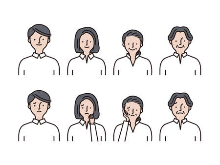 Simple icon set: Young men and women, middle-aged men and women set C