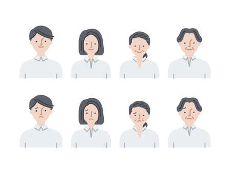 Simple icon set: Young men and women, middle-aged men and women set C(fill) 矢量图像