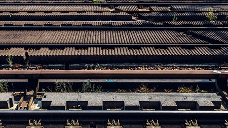 railway transportation: Railway track with structure and texture, transportation