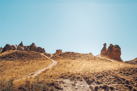 photography of a Valley, Rocks and Stones of Cappadocia, Turkey Stock Photo