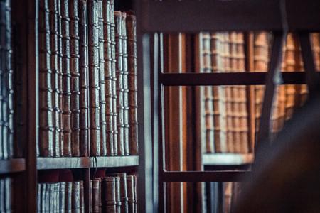 old books on wooden shelf in Austrian National Library, wien Stock Photo