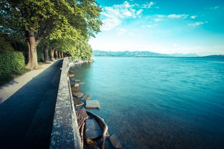 Lindau with blue calm water and sky Stock Photo