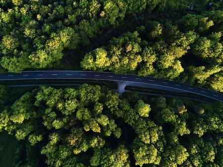 Bovenaanzicht van het pad door de bomen. Uitzicht vanaf ballon. Road view van boven genomen door quadrocopter