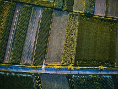 Aerial view of a country road with colorful agricultural fields in spring - germany Stock Photo