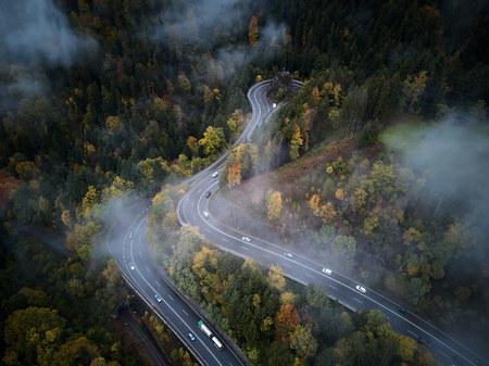 straat van boven via een mistige bos in de herfst, luchtfoto vliegen door de wolken met mist en bomen