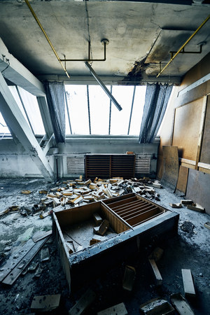 old lost abandonend factory building hall Standard-Bild