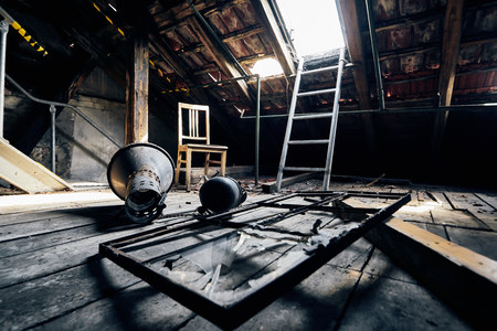old lost abandonend factory building hall Stock Photo