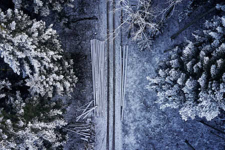 Aerial view at the winter forest from above. Pine trees as a background with a path going trough the trees. Winter landscape from air. Natural forest background. Forest background from drone