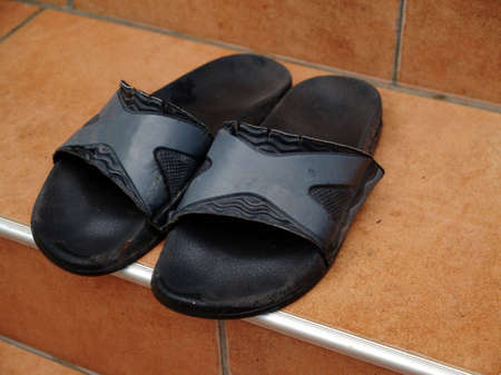forgotten: My summer slippers on a stair