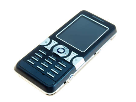 reachable: A black cell phone on white background  Stock Photo