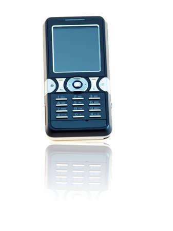 Een zwarte mobiele telefoon op een witte achtergrond